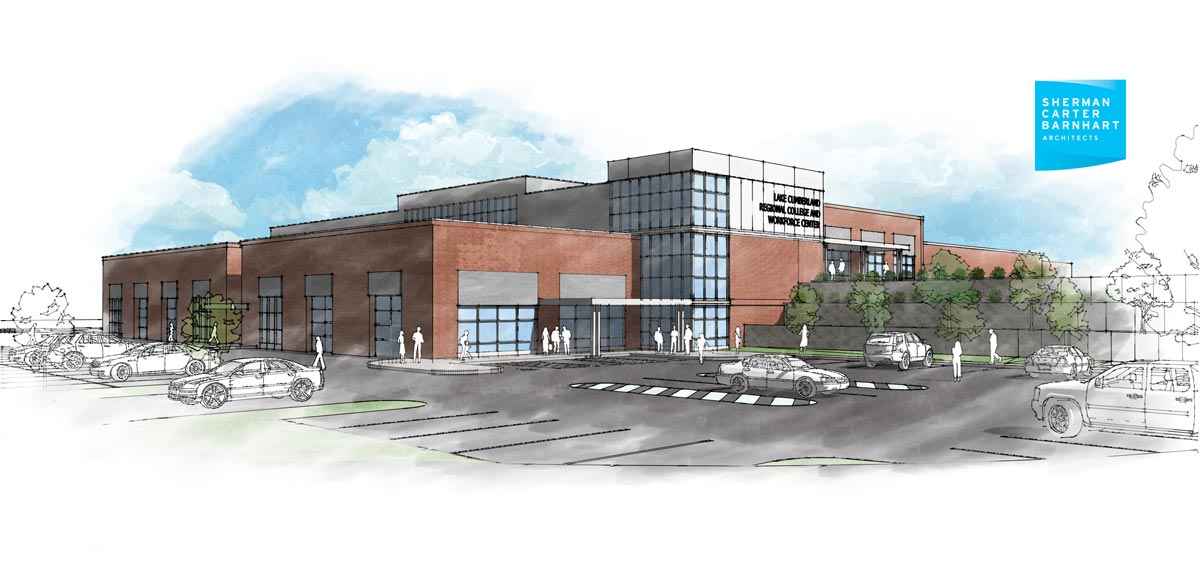 Lake Cumberland Regional College & Workforce Center architects rendering.