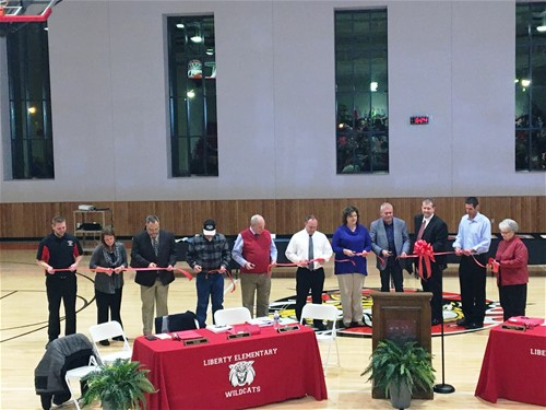 liberty elementary gymnasium ribbon cutting